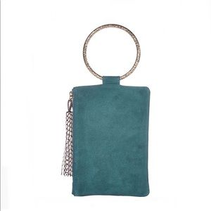 THACKER Goldtone ring handle Hammered Clutch